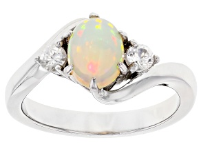 Pre-Owned Multicolor Ethiopian Opal Rhodium Over  Sterling Silver Ring 1.05ctw