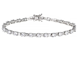 Pre-Owned White Cubic Zirconia Rhodium Over Sterling Silver Tennis Bracelet 13.91ctw