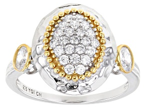 Pre-Owned White Cubic Zirconia Rhodium And 14K Yellow Gold Over Sterling Silver Ring 0.97ctw