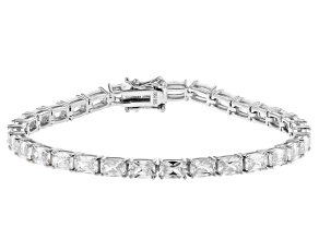 Pre-Owned White Cubic Zirconia Platinum Over Sterling Silver Tennis Bracelet 24.04ctw