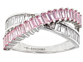 Pre-Owned Pink And White Cubic Zirconia Rhodium Over Sterling Silver Ring 2.07ctw