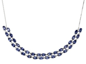 Pre-Owned Blue Cubic Zirconia Rhodium Over Sterling Silver Adjustable Necklace 23.55ctw