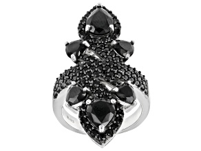 Pre-Owned Black Spinel Rhodium Over Sterling Silver Ring 5.72ctw
