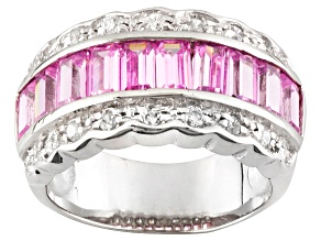 Pre-Owned Pink And White Cubic Zirconia Rhodium Over Sterling Silver Ring 3.23ctw
