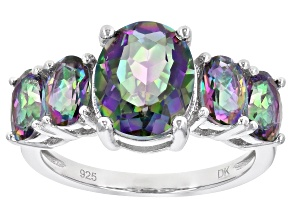 Pre-Owned Multicolor Quartz Rhodium Over Sterling Silver 5-Stone Ring 3.59ctw