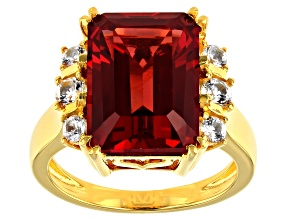 Pre-Owned Red Lab Created Padparascha Sapphire 18k Yellow Gold Over Sterling Silver Ring 7.72ctw