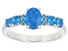 Pre-Owned Blue Neon Apatite Rhodium Over Sterling Silver Ring 1.19ctw