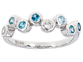 Pre-Owned Blue And White Cubic Zirconia Rhodium Over Sterling Silver Ring 0.86ctw
