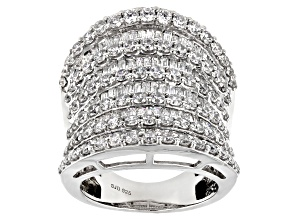 Pre-Owned White Cubic Zirconia Rhodium Over Sterling Silver Ring 7.70ctw