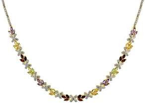 Pre-Owned Mutli Stone 18k Yellow Gold Over Sterling Silver Necklace 6.00ctw