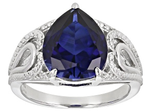 Pre-Owned Lab Created Blue Sapphire Rhodium Over Silver Ring 5.00ctw