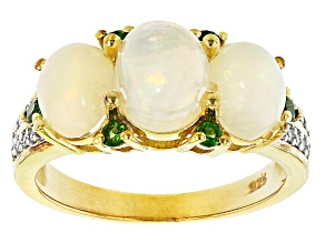 Pre-Owned Ethiopian Opal 18k Yellow Gold Over Silver Ring