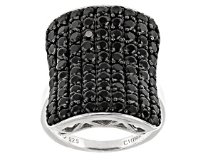 Pre-Owned Black Spinel Rhodium Over Sterling Silver Statement Ring 3.40ctw