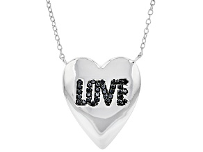 """Pre-Owned Black Spinel Rhodium Over Silver Heart Shaped """"Love"""" Necklace 0.18ctw"""