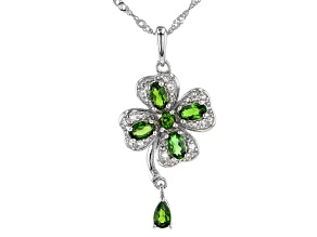 Pre-Owned Green Chrome Diopside Rhodium Over Sterling Silver Pendant With Chain 1.20ctw