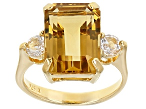 Pre-Owned Yellow Brazilian Citrine 18K Yellow Gold Over Sterling Silver Ring 7.53ctw