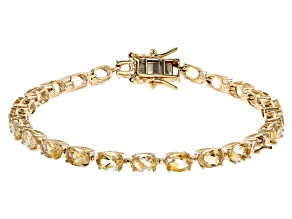 Pre-Owned Yellow Citrine 18k Yellow Gold Over Sterling Silver Tennis Bracelet 10.96ctw