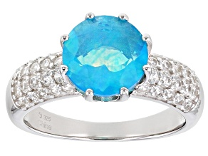 Pre-Owned Pariaba Blue Color Opal Rhodium Over Sterling Silver Ring .65ctw