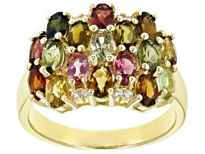 Pre-Owned Multi-Tourmaline 18K Yellow Gold Over Sterling  Silver Cluster Ring 3.33ctw