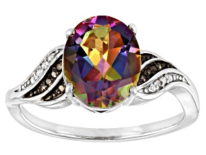 Pre-Owned Multi-Color Quartz Rhodium Over Sterling Silver Ring 2.00ctw