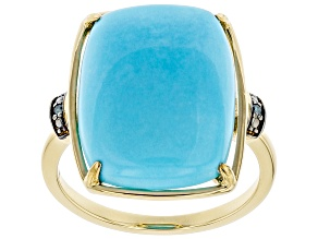Pre-Owned Blue Turquoise 14K Yellow Gold Ring 0.01ctw