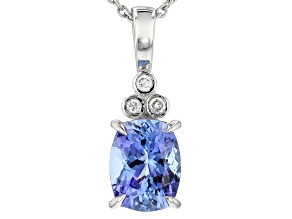 Pre-Owned Blue Tanzanite Platinum Pendant With Chain 2.29ctw
