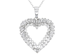 "Pre-Owned White Diamond 14k White Gold Heart Pendant With 18"" Rope Chain 0.75ctw"
