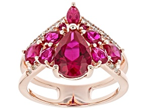 Pre-Owned Red Lab Created Ruby 18k Rose Gold Over Sterling Silver Ring 3.34ctw