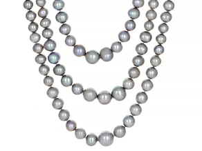 Pre-Owned 5-10 mm Silver Cultured Freshwater Pearl & Zircon Rhodium Over Sterling Silver Multi-Row N