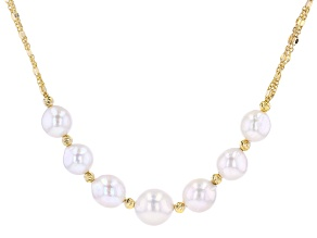 Pre-Owned White Cultured Freshwater Pearl 18k Yellow Gold Over Sterling Silver Necklace