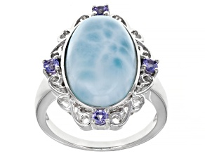 Pre-Owned Blue Larimar Rhodium Over Sterling Silver Ring 0.24ctw