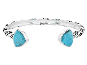 Pre-Owned Blue Turquoise Rhodium Over Silver Bangle Bracelet