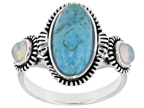 Pre-Owned Turquoise & Opal Rhodium Over Sterling Silver Ring