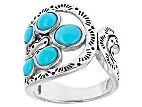 Pre-Owned  Sleeping Beauty Turquoise Rhodium Over Silver 5-Stone Ring