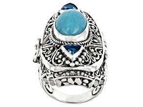 Pre-Owned Blue Amazonite and Blue Topaz Sterling Silver Ring 1.54ctw