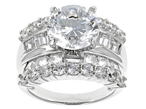 Pre-Owned White Cubic Zirconia Rhodium Over Silver Ring 10.50ctw
