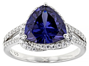 Pre-Owned Blue And White Cubic Zirconia Rhodium Over Sterling Silver Ring 6.65ctw