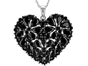 Pre-Owned Black spinel rhodium over silver pendant with chain 7.91ctw
