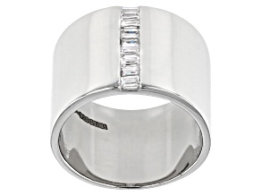 Pre-Owned White Cubic Zirconia Rhodium Over Sterling Silver Ring 0.46ctw