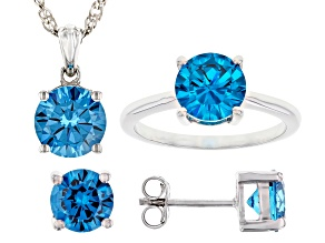Pre-Owned Blue Cubic Zirconia Rhodium Over Sterling Silver Jewelry Set 10.35ctw
