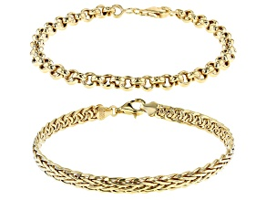 Pre-Owned 18K Yellow Gold Over Sterling Silver 5MM Set of 2 Rolo and Wheat Link 7.5 Inch Bracelets
