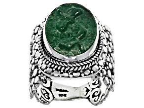 Pre-Owned Green Kiwi Quartz Silver Ring