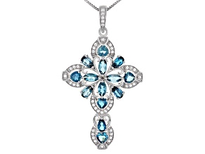 Pre-Owned Blue Topaz Rhodium Over Sterling Silver Cross Pendant With Chain 3.57ctw