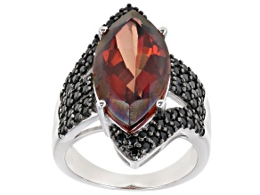 Pre-Owned Red Labradorite Rhodium Over Silver Ring 6.94ctw