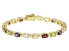 Pre-Owned Multi Gemstone 18k Yellow Gold Over Sterling Silver Bracelet 8.28ctw