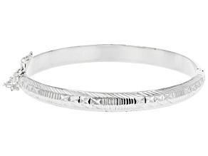Pre-Owned Sterling Silver 7MM Diamond-Cut Bangle