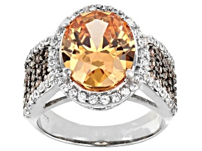 Pre-Owned Champagne, Mocha, And White Cubic Zirconia Rhodium Over Silver Ring 11.51ctw