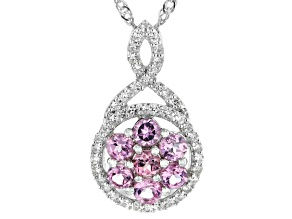 Pre-Owned Blush Garnet Rhodium Over Sterling Silver Pendant With Chain 1.68ctw