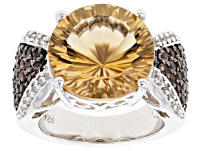 Pre-Owned Champagne Quartz Rhodium Over Sterling Silver Ring 6.09ctw