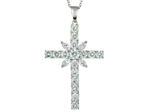 Pre-Owned Cubic Zirconia Sterling Silver Cross Pendant With Chain 6.22ctw